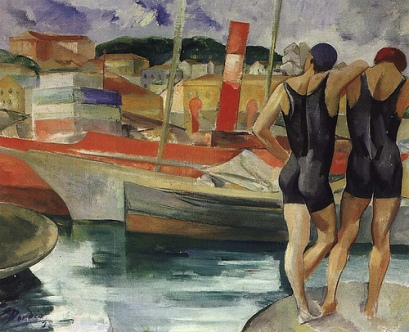 Dórdio Gomes, Dois Banhistas à Beira do Douro, 1928